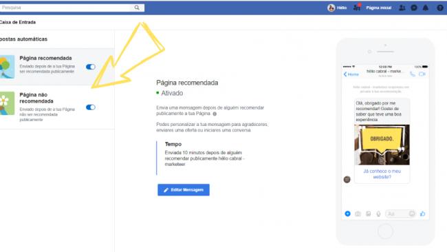 Recomendações nas páginas de Facebook