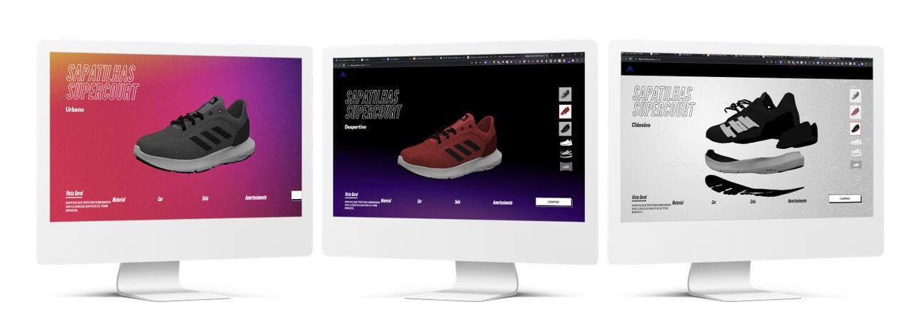 Criação de loja online Adidas com experiência visual avançada